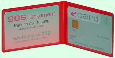 Schutzhülle für Kontaktkarte oder Patientenverfügung
