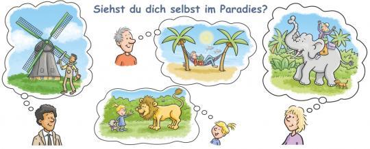 Tasse mit Text Paradies - Zeichnung